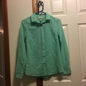 J.Crew The Perfect Shirt Green White Check Size 0